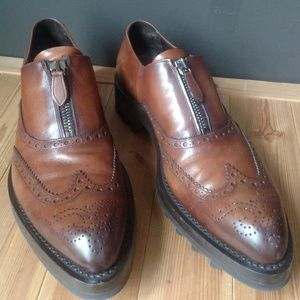 PRADA Runway Lug Sole Wingtip Zip-up Brogues